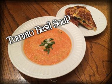 Tomato-Basil Soup w/Pepperoni and Veggie Stuffed Grilled Cheese Sandwiches